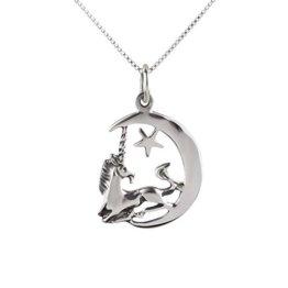 SL-Silver Set aus Kette und Anhänger Einhorn Mond und Stern 925 Silber in Geschenkbox -