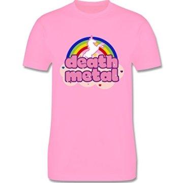 Statement Shirts - Death Metal Einhorn - XXL - Rosa - L190 - Premium Kurzarm T-Shirt für Herren -
