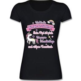 Statement Shirts - Königin der Einhörner - M - Schwarz - F288N - Kurzarm T-Shirt für Damen mit weitem Rundhalsausschnitt -