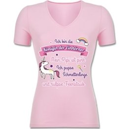Statement Shirts - Königin der Einhörner - S - Rosa - F281N - tailliertes T-Shirt mit V-Ausschnitt für Frauen -