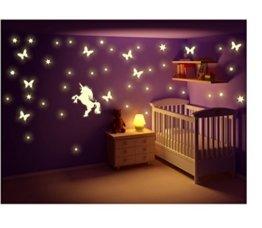 Stickerkoenig Kinderzimmer Wandtattoo Leuchtsticker Einhorn mit Schmetterlingen Sternen Sternenhimmel leuchten im Dunkeln Sticker Orafol nachtleuchtend fluoreszierende Sticker Glow in the Dark Wandaufkleber, Wandsticker, Dekoration -