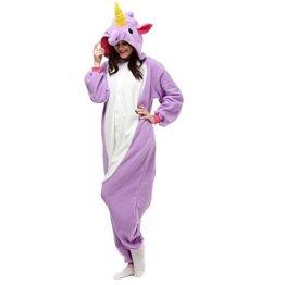 Tier Pyjamas Schlafanzug Cosplay Kostüm - Fasching Onesies Jumpsuit Tierkostüme (Size L Fit height: 170CM-180CM, Purple Unicorn) -