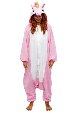 Très Chic Mailanda Unisex Erwachsene Schlafanzug Karneval Tier Cosplay Plüschtier Kapuzenkostüm (Blau Einhorn) (S: Für 148-160CM, pink2) -