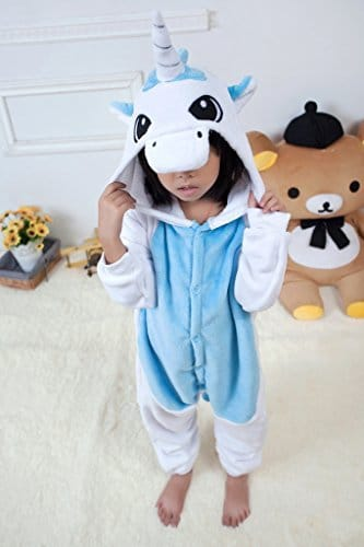 UDreamTime Kinder Homewear Anime Sleepsuit Tier Pyjamas Cosplay Kostüme Blaues Einhorn M -
