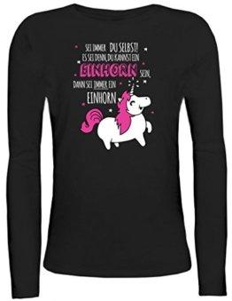 Unicorn Damen Longsleeve Langarm T-Shirt mit Sei immer ein Einhorn Motiv von ShirtStreet, Größe: M,schwarz -