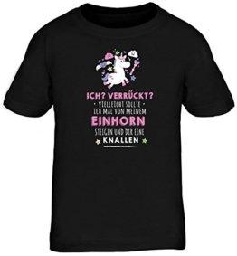 Unicorn Kids Kinder Fun T-Shirt mit Vom Einhorn steigen Motiv von ShirtStreet, Größe: 152/164,schwarz -
