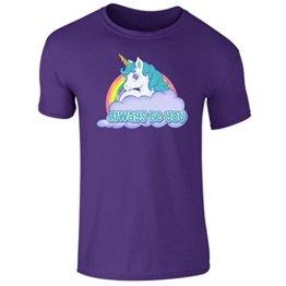 Unisex Herren Einhorn immer werden Sie Central Intelligence Rainbow T Shirt UK Größe S-XXL Gr. XXL, violett -