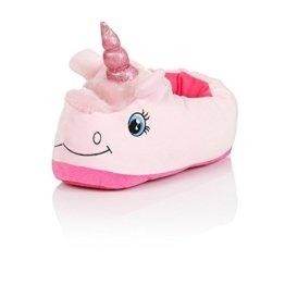 Unisex Unicorn Einhorn Hausschuhe Winter Warm Plüsch Schuhe Pantoffeln Einheitsgröße für Erwachsene, 36-41 (Rosa) -