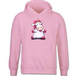 Up to Date Kind - Einhorn Agnes so flauschig - Fluffy Unicorn - 152 (12-13 Jahre) - Rosa - F421NK - Kapuzenpullover / Kinder-Hoodie für Mädchen und Jungen -