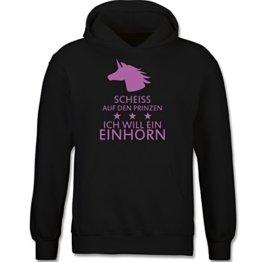 Up to Date Kind - Einhorn - Scheiss auf den Prinzen ich will ein Einhorn - 152 (12-13 Jahre) - Schwarz - F421NK - Kapuzenpullover / Kinder-Hoodie für Mädchen und Jungen -