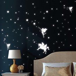 """Wandtattoo Loft """"Drei Elfen mit Einhorn, Sterne und Punkt"""" Leuchtaufkleber - Wandtattoo fluoreszierende leuchtende Sticker für einen tollen Sternenhimmel im Kinderzimmer -"""