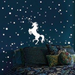 """Wandtattoo Loft Leuchtaufkleber """"Einhorn mit 140 Leuchtsternen 80 Leuchtpunkte"""" - Leuchtsticker Leuchtsterne leuchten im Dunklen für einen tollen Sternenhimmel in Kinderzimmer oder Schlafzimmer -"""