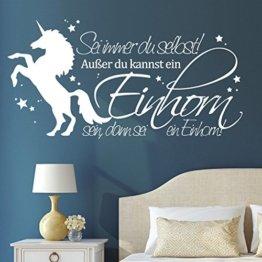 """Wandtattoo Loft Schriftzug """"Sei immer du selbst! Außer du kannst ein Einhorn sein, dann sei ein Einhorn"""" mit Einhorn / 54 Farben / 2 Größen / weiß / 35 cm Höhe x 68 cm Breite -"""