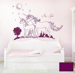 Wandtattoo Wandaufkleber Einhorn Einhörner Sterne mit Namen Wunschname M1600 - ausgewählte Farbe: *Lila* - ausgewählte Größe: M - 100cm breit x 70cm hoch -