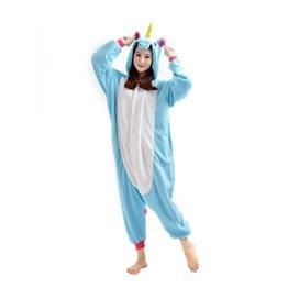 Yarbar Tier Onesies Karneval Halloween Kostüm Nachtwäsche Cosplay Pyjama Erwachsene Unisex Kigurumi Jumpsuit Blaue Einhorn -