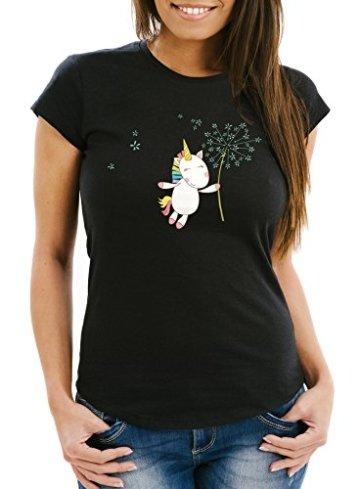 Damen T-Shirt Einhorn mit Pusteblume Unicorn with Dandelion Slim Fit Moonworks® schwarz S -