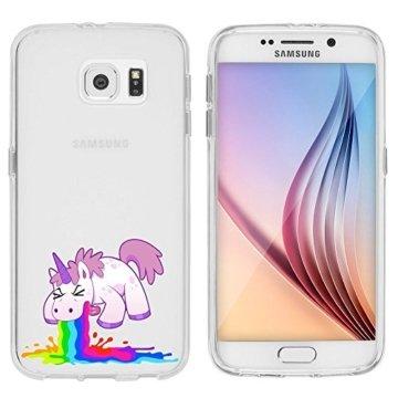 """Samsung Galaxy S6 Hülle von licaso® aus TPU schützt Dein S6 5,1"""" Einhorn Kotzi Unicorn Einhörner Muster Märchen Schutz-Hülle Cover Case transparent klare Schutzhülle galaxys6 galaxys7 Tasche Silikon Style (Samsung Galaxy S6, Einhorn Kotzi) -"""
