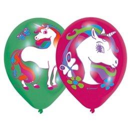 6 Luftballons * REGENBOGEN EINHORN * für Kinderparty und Kindergeburtstag // Deko Ballons Party Set Kinder Geburtstag Motto zauberhaft Traumwelt -