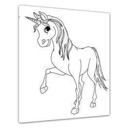 Einführungsangebot: Bilderdepot24 - Einhorn - Ausmalbild auf Leinwand, aufgespannt auf Rahmen - Quadrat-Format - 50x50 cm - fertig gerahmt, direkt vom Hersteller -