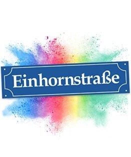 Einhhorn Münchner Straßenschild - Einhornstraße (40 x 10cm)   Süße Wand-Deko, Türschild für Mädels-Wohnung & Mädchen-Zimmer   Geschenkidee Einweihungsparty & Geburtstags-Geschenk   Lustige Überraschung - beste Freundin -
