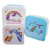 Einhorn Vesperdosen 3er Set aus Kunststoff / Rainbows & Unicorns Lunchboxen in 3 verschiedenen Größen -