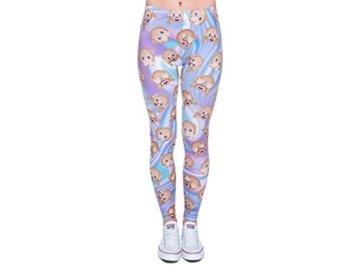 Leggings Damen Bedruckt Sexy Leggins Ladies mit Print Look Motiv Muster Stretch Legins Hose von Alsino, Variante wählen:LEG-070 Emoticon Affen -
