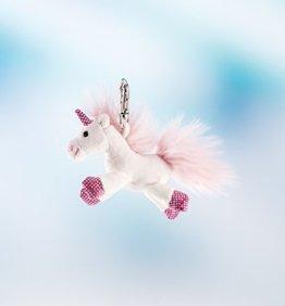 Schaffer, Schlüsselanhänger, Einhorn, shiny, 8 cm, weiß/rosa -