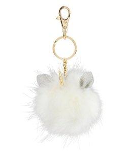 """SIX """"Fun"""" kuscheliger Einhorn PomPom Puschel Bommel in weiß mit silber Glitzer Ohren und gedrehtem goldenem Horn, Karabiner Tasche Schlüssel (436-540) -"""