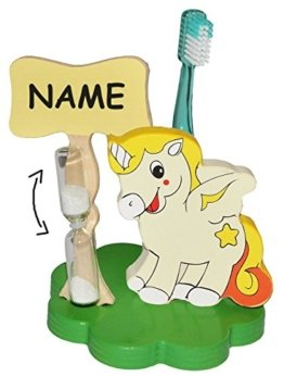 Zahnputzuhr / Zahnbürstenhalter - Einhorn Pferd incl. Namen - mit Sanduhr + Zahnbürste - aus Holz - für Kinder / zum Zähneputzen für 1 Minute - Badezimmer Bad Kinderzahnbürste / Mädchen Jungen - Tiere - Bauernhof Einhörner -