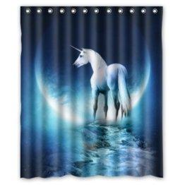 152,4x 182,9cm reinigen und Classic weiß Pegasus Einhörner Moon Creek Art Hintergrund Wasserdicht Vorhang für die Dusche/Bad Decor einfach waschbar trocknet schnell -