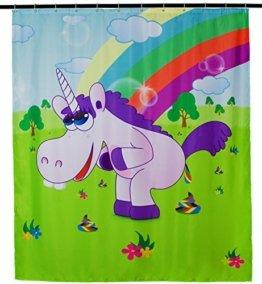 Design Antischimmel Duschvorhang - Drunky Unicorn Aufdruck - ca. 200 x 180 cm - inkl. 12 Duschvorhangringe - Venkon ® -