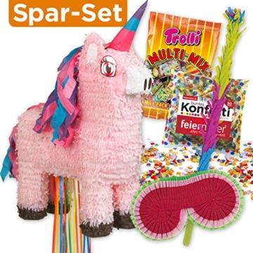 PIÑATA-SET: Rosa Einhorn Zieh-Piñata + Schläger + Maske + Süßigkeiten-Füllung + Konfetti -