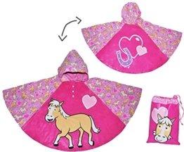 Regenponcho / Regencape - Pferde Pony - Gr. 104 - 110 - 116 - 122 - 128 - circa 3 bis 6 Jahre - für Kinder - Mädchen Pferd Fahrrad / Regen Poncho - Regenmantel Regenjacke -