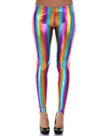 Distressed Metallic Shiny Glanz Leggings Wet Look S~M 34,36,38 regenbogen -