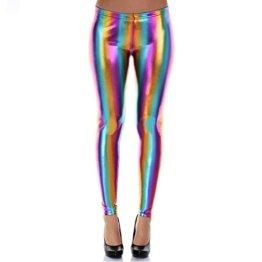 Distressed Metallic Shiny Glanz Leggings Wet Look S~M 34,36,38 regenbogen -