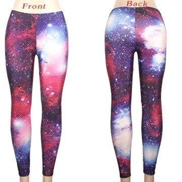DODOING Damen Galaxy Leggings Pants Skinny Stretch Einhorn Und Regenbogen-Muster Legging Strumpfhose Frauen -