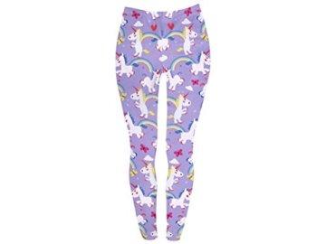 Einhorn Leggings Gym Sport Print Leggins Muster bunt Stretch Hose für Damen mit Muster ALSINO, Variante wählen:LEG-124 Einhorn lila -