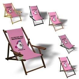 Einhorn - Realitätsverlust - Liegestuhl bedruckt Balkon Garten Sonnenliege Relax Holz Terrasse, Variante:mit Armlehne. Dunkelbraun -