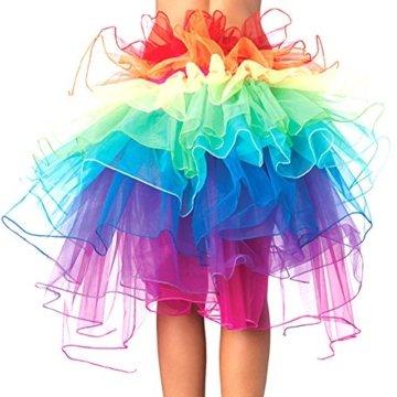 Eleery Damen Tutu Kostüm Petticoat Princess Multi-schichten Regenbogen Puff Rock (Rainbow) -