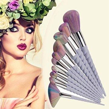 Kyerivs 10pcs Einhorn Make up Pinsel Kosmetik Frauen Mehrfarbig Make up Pinsel Kit für Foundation Eyebrow Eyeliner -