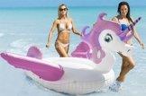 neuer fantastischer riesiger aufblasbarer Einhorn Schwimm Pool mit Flügel,Unicorn Pool-Party Schwimmtier Luftmatratze mit Kunststoffhalter,Einhorn Schwimmbad Floß Raft für Erwachsene Kinder,von HooYL (Violett) -