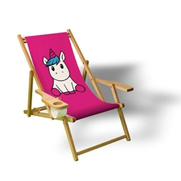 Pink Einhorn - Liegestuhl bedruckt Balkon Garten Sonnenliege Relax Holz Terrasse, Variante:mit Armlehne. Natur -