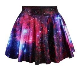 Women Girls Casual High Waist Stretch Waist Flared Pleated Mini Skirt Starcraf red -