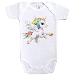 Baby Einhorn–Arc En Ciel–Body Baby kurzärmlig–Baumwolle–Weiß–Dragonsite Fairysite–Elternteil Gr. 18 Monate, weiß -