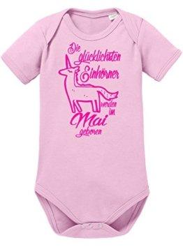 Die Glücklichsten Einhörner werden im Mai geboren! Perfektes Geburtstagsgeschenk - Bio Baby Kurzarmbody -