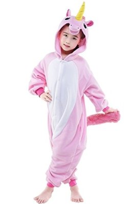 KiKa Monkey Kinder Einhorn-Karikatur-Flanell-Tierneuheit-Kostüme Cosplay Pyjamas (Größe 105: 115-124cm, Rosa) -