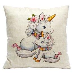 Süßes Einhorn Dekorative Kissen Kissenbezüge Zierkissenbezüge für Kinderzimmer Babyzimmer Dekoration (Einhorn14) -