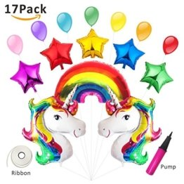 Einhorn Luftballon Deko Regenbogen Ballon Kindergeburtstag Geburtstag Unique Party Supplies Rainbow Unicorn Set Folieballon Helium 15 Pcs -