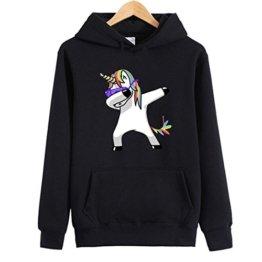 Eudolah Damen Hoodie Einhorn Sweatshirt pullover Sport Schwarz Gr.M -