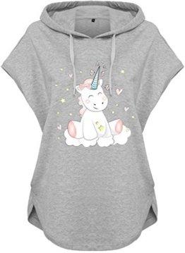 Kawaii Hoodie Kapuzenhoodie Ladies Damen Kapuzenshirt Einhorn cutie (Motiv 51, Grau, M) -
